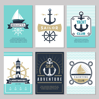 Nautical cards. Marine vintage logotypes sea rope knot anchor ship ocean decorative symbols for labels background