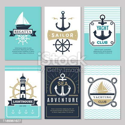 Nautical cards. Marine vintage logotypes sea rope knot anchor ship ocean decorative symbols for labels background. Marine nautical card, anchor and ship illustration