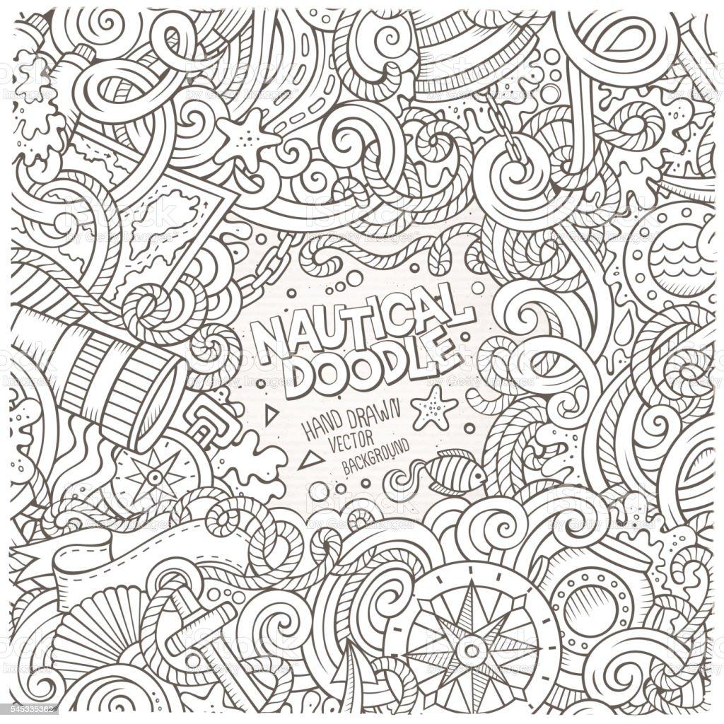 Nautical cartoon vector hand drawn doodle frame vector art illustration