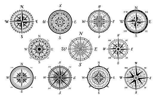 Nautical compasses vintage set. Wind rose medieval tools. Geographical marine navigation equipment.