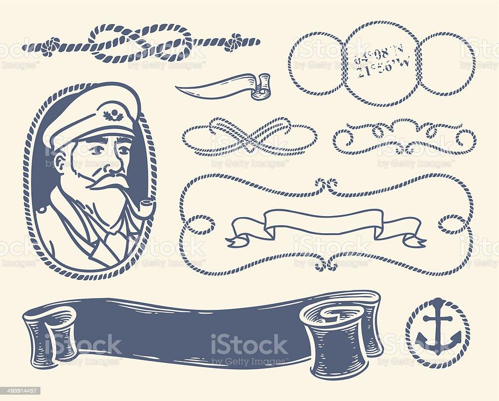 Nautical decoration set over white background. vector art illustration