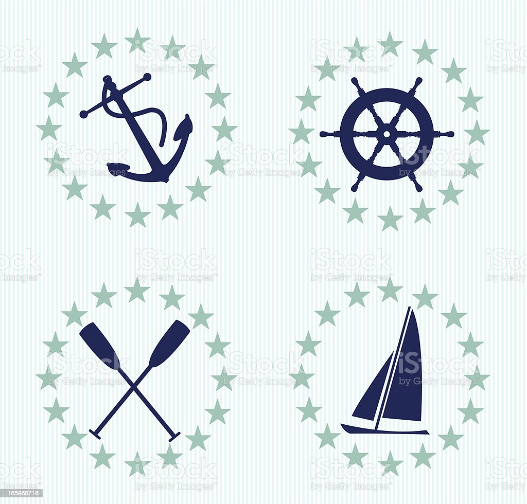 Nautical Design Accents with Pin Stripes, Anchor, Boat royalty-free stock vector art