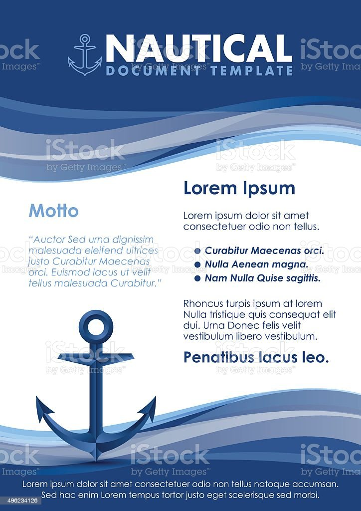 Nautical document template vector art illustration