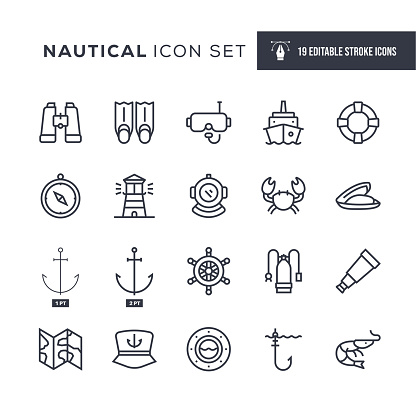 Nautical Editable Stroke Line Icons
