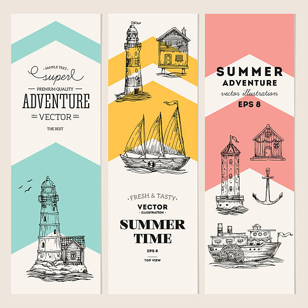 Nautical elements banner collection. Sea set. Vector illustration vector art illustration