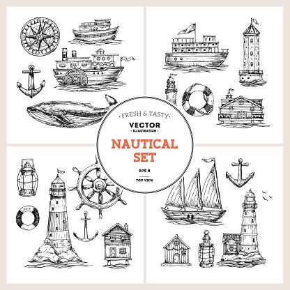 Nautical elements collection. Sea set. Vector illustration