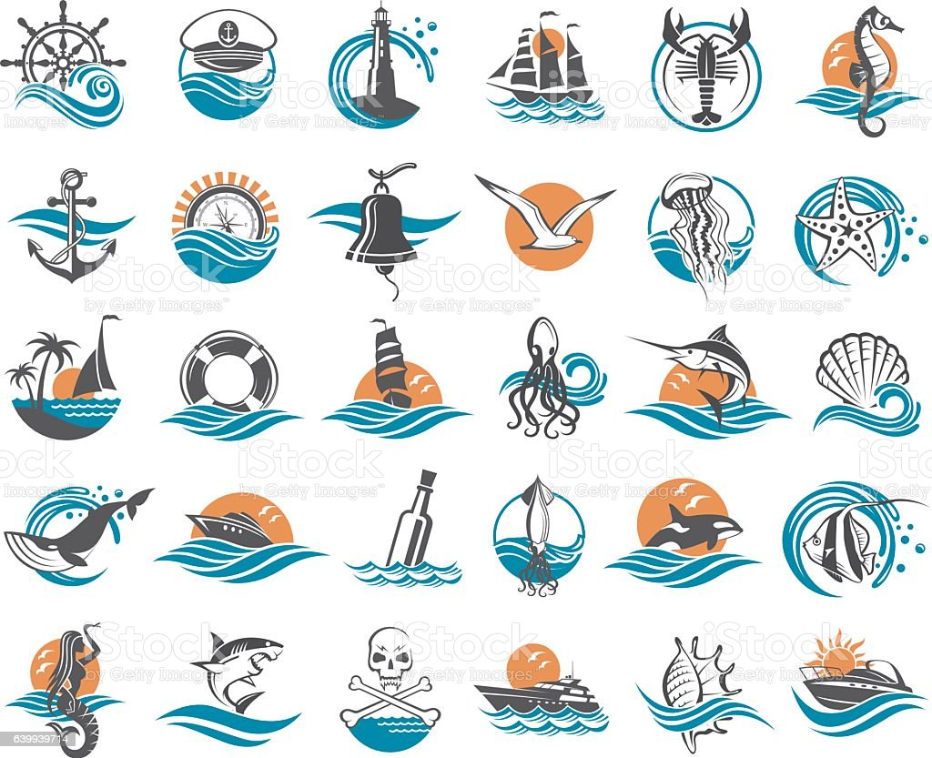 nautical elements collection vector art illustration