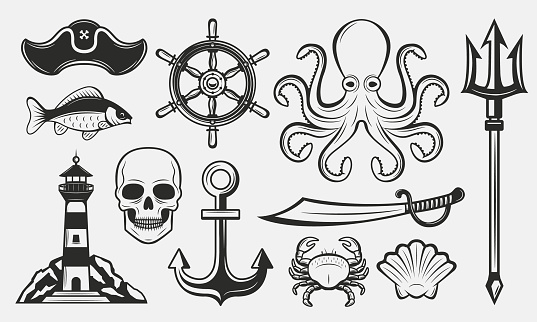 Nautical elements set. Vintage nautical icons set. Marine symbol templates. Lighthouse, anchor, trident, octopus, ship wheel. Vector illustrations