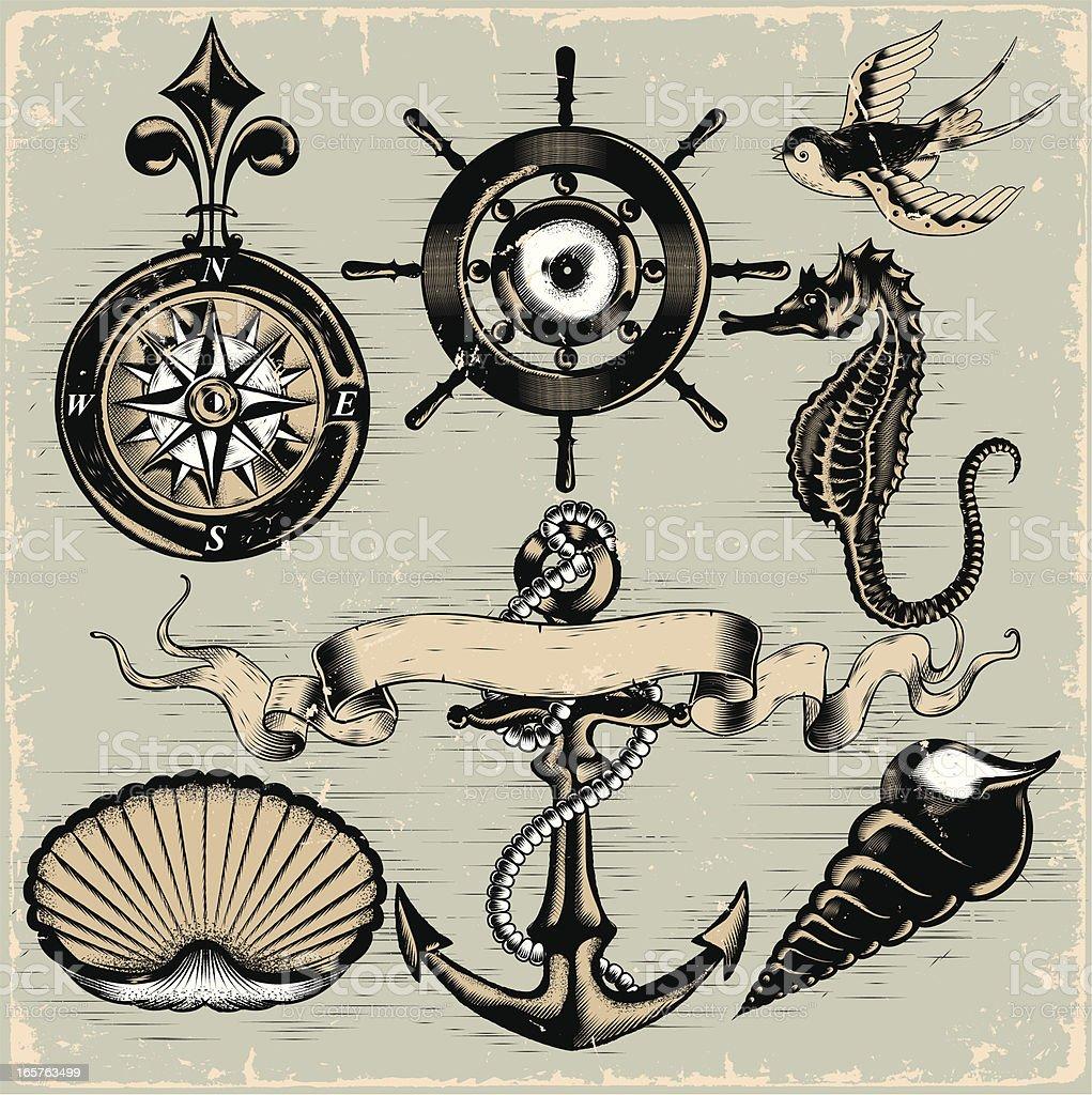 Nautical Elements vector art illustration