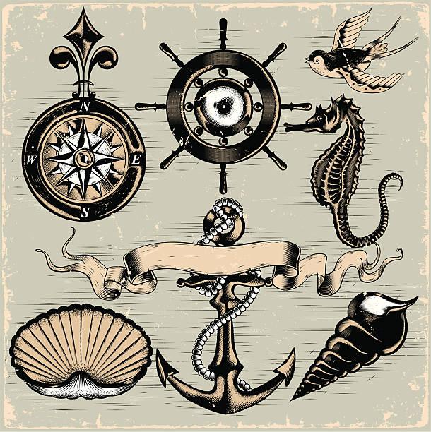 ilustraciones, imágenes clip art, dibujos animados e iconos de stock de elementos de náutica - tatuajes náuticos