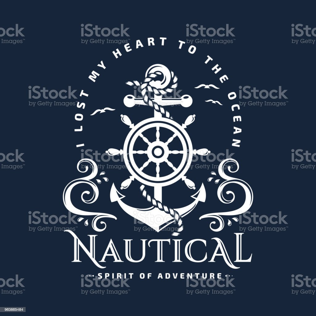 Nautical emblem with anchor, steering wheel and waves. - Royalty-free Adventure stock vector