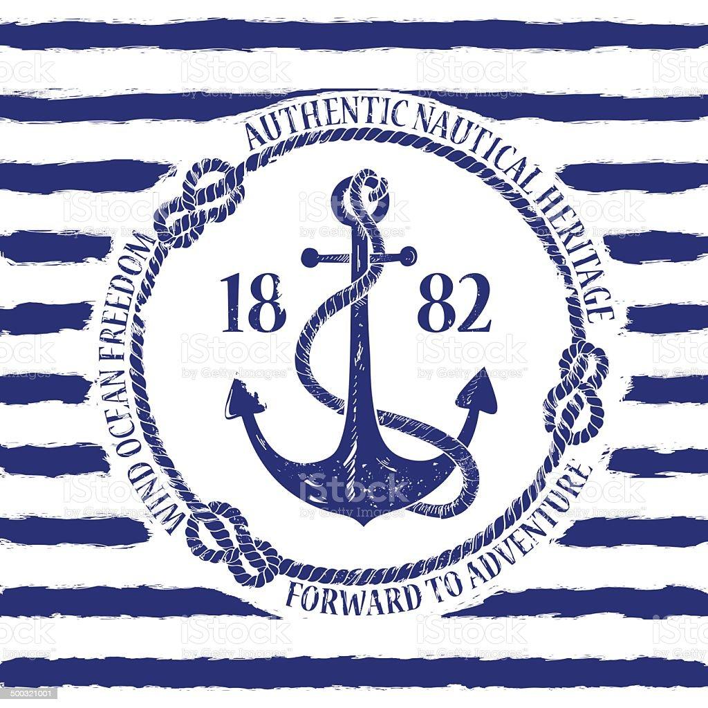 Nautical emblem with anchor vector art illustration