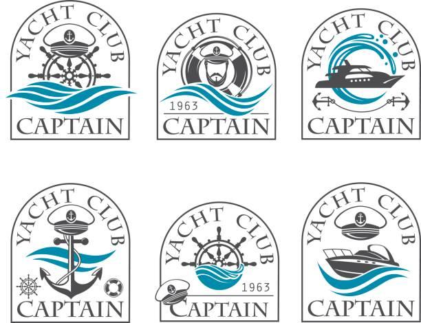 illustrations, cliparts, dessins animés et icônes de collection d'emblèmes nautique - voilier à moteur