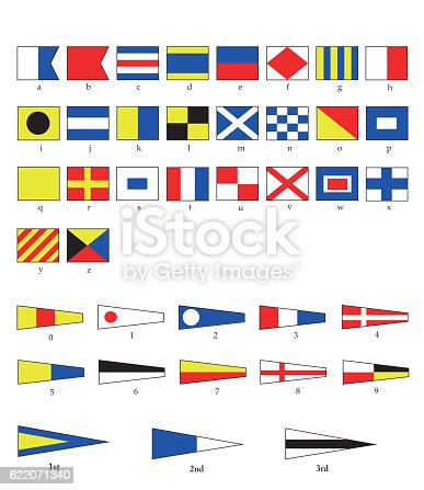 A complete set of Nautical flags for letters and numbers, including ordinal numbers. EPS10 vector format.