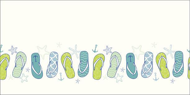 Nautical flip flops blue and green horizontal seamless pattern background vector nautical flip flops blue and green horizontal seamless pattern background beach borders stock illustrations