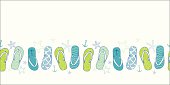 Nautical flip flops blue and green horizontal seamless pattern background
