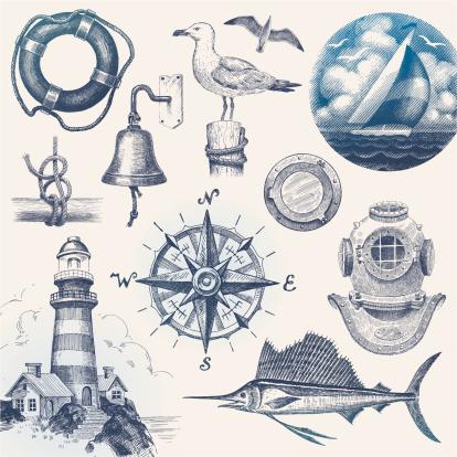 Nautical hand drawn vector set.