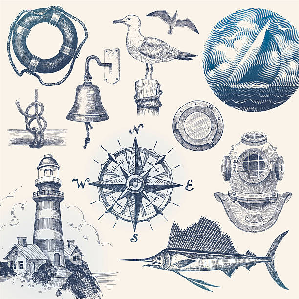Nautical hand drawn vector set vector art illustration