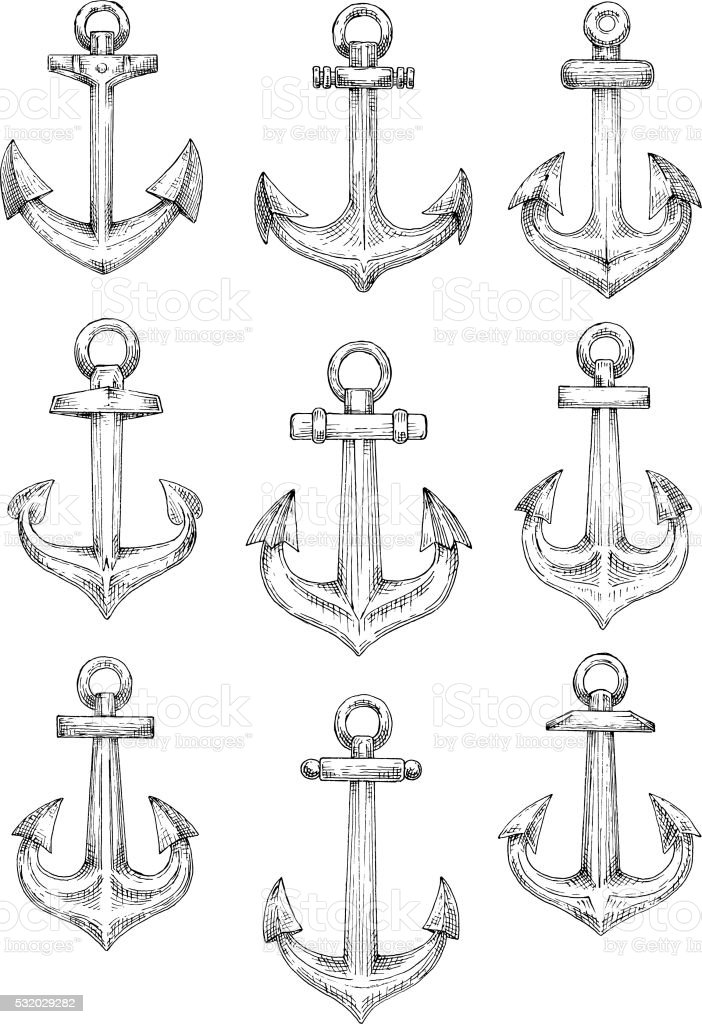 Nautical heraldic sketch symbols of retro anchors vector art illustration