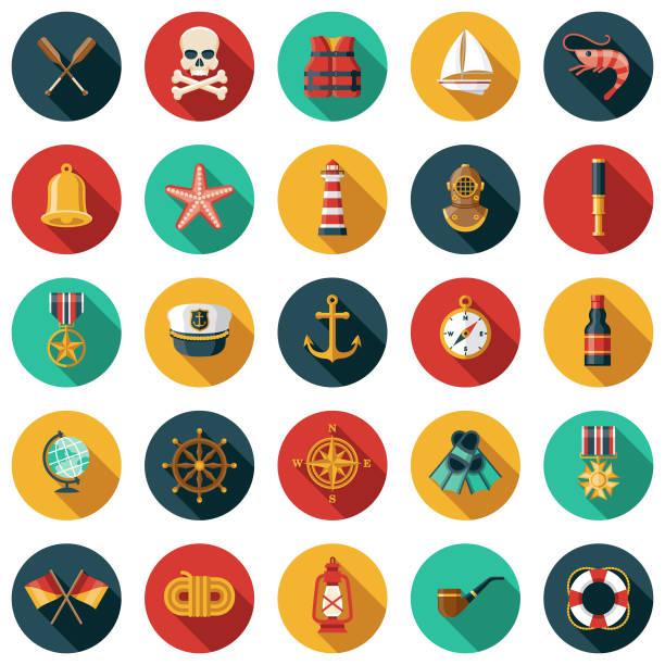 nautisches icon-set - matrosenmütze stock-grafiken, -clipart, -cartoons und -symbole