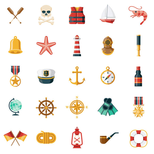 Nautical Icon Set A set of icons. File is built in the CMYK color space for optimal printing. Color swatches are global so it's easy to edit and change the colors. seyahat noktaları illustrationsları stock illustrations