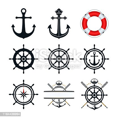 Anchor, ship wheel, captains hat oar, and life buoy icons design. Nautical icons on white background.