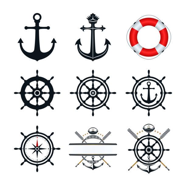 ilustrações de stock, clip art, desenhos animados e ícones de nautical icon set - veículo aquático