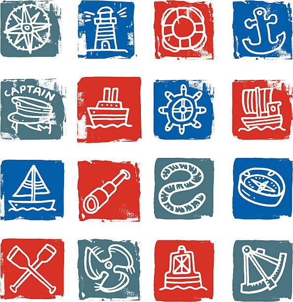 ilustrações de stock, clip art, desenhos animados e ícones de ícone conjunto náutico - sextante