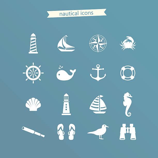 nautische icon-set - segeln stock-grafiken, -clipart, -cartoons und -symbole