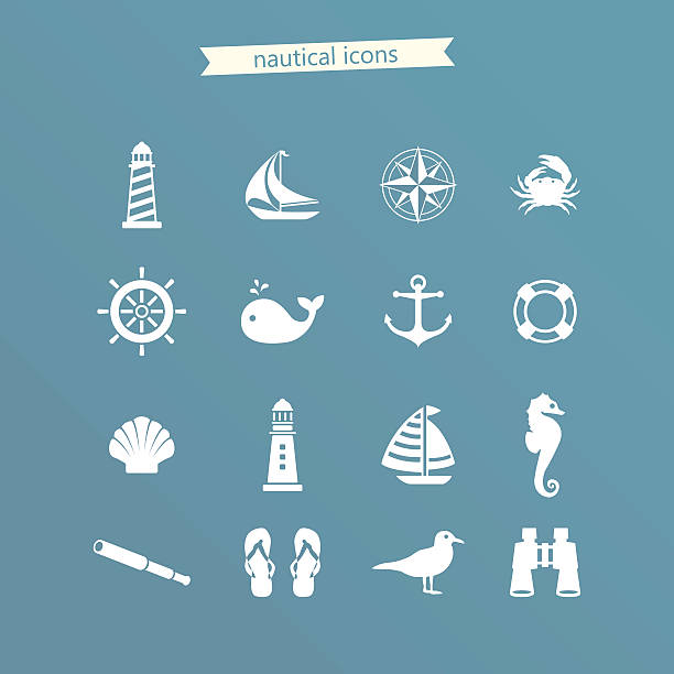 Nautical icon set vector art illustration
