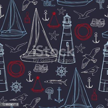 istock Nautical icon set. Vector  seamless pattern 1199390713