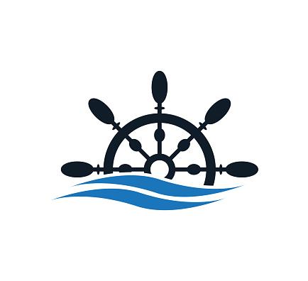 Nautical icon ,steering wheel icon vector logo design template
