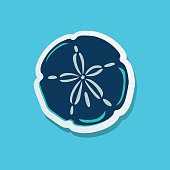 Simple beach icon in sticker style
