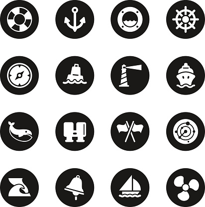 Nautical Icons - Black Circle Series