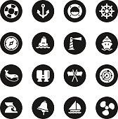 Nautical Icons Black Circle Series Vector EPS10 File.