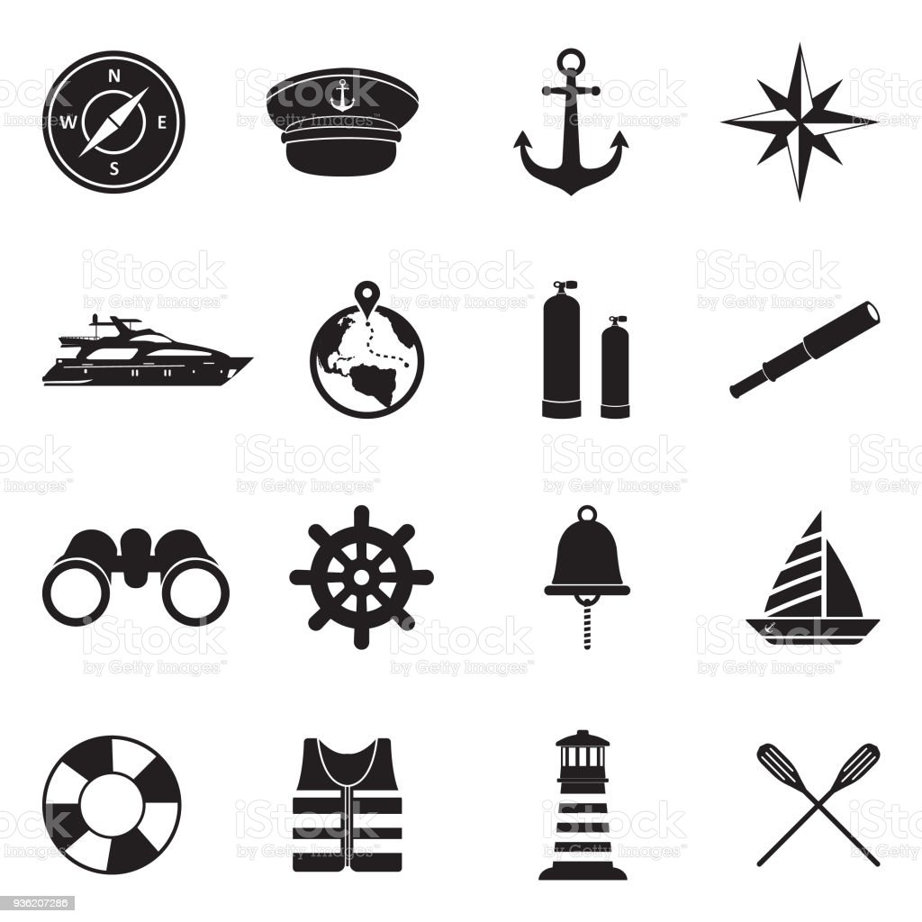 Nautical Icons. Black Flat Design. Vector Illustration. vector art illustration