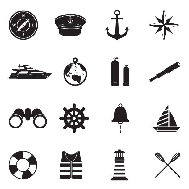 illustrazioni stock, clip art, cartoni animati e icone di tendenza di nautical icons. black flat design. vector illustration. - immerse in the stars