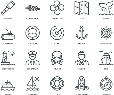 Nautical Icons,  Monoline concept