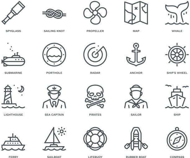 bildbanksillustrationer, clip art samt tecknat material och ikoner med nautiska ikoner, monoline-konceptet - map oceans