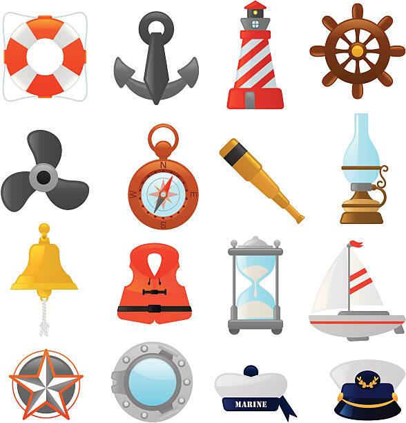 nautische symbole/smoso series - matrosenmütze stock-grafiken, -clipart, -cartoons und -symbole