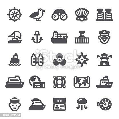 Nautical, shipping, icon, icon set, sailing, anchor, sea, shipping port