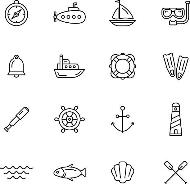 illustrations, cliparts, dessins animés et icônes de icônes de nautique - sports de pagaie