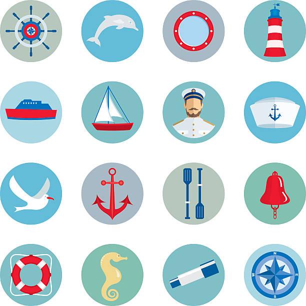 nautische symbole - matrosenmütze stock-grafiken, -clipart, -cartoons und -symbole