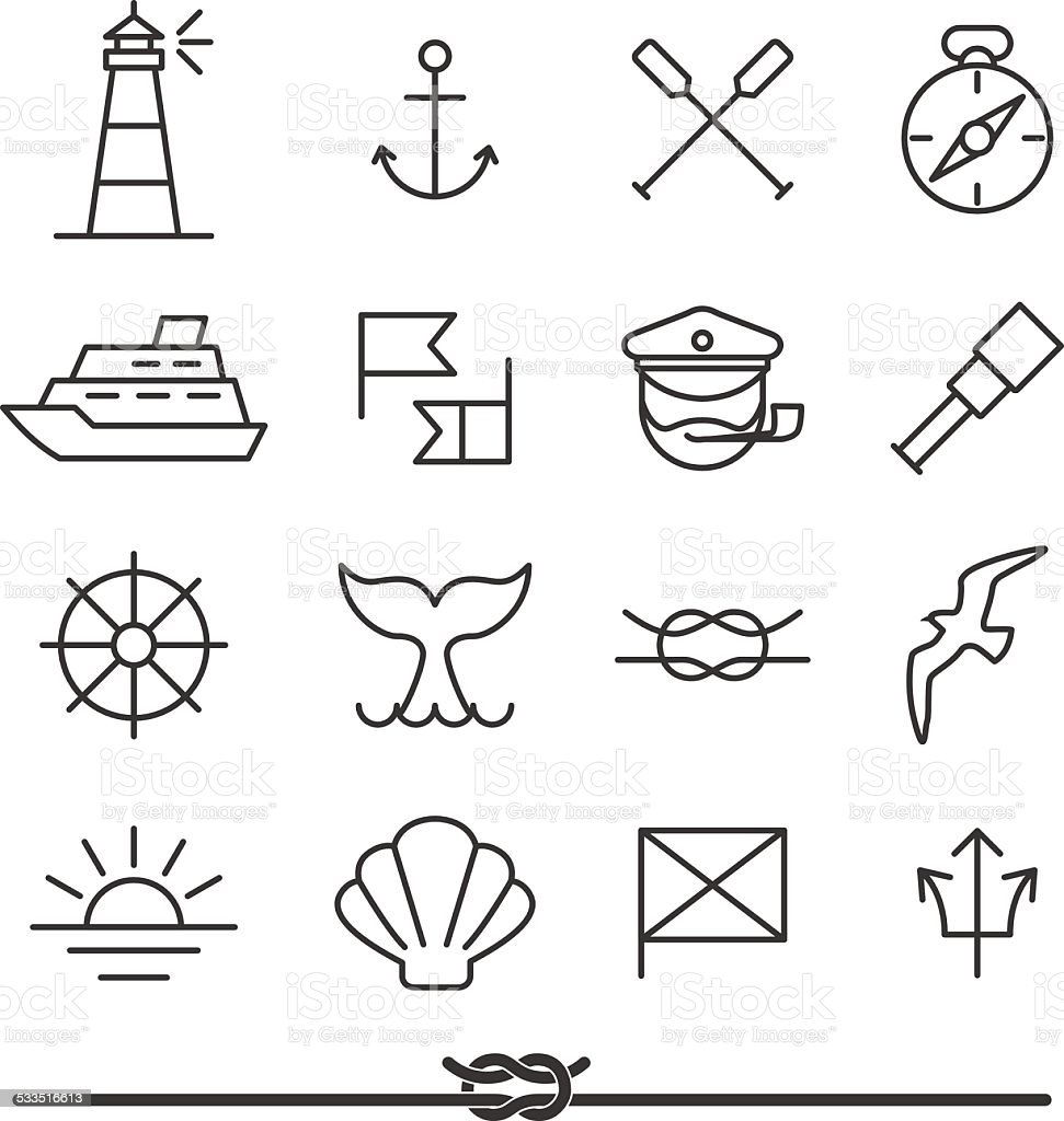 Nautical icons vector art illustration