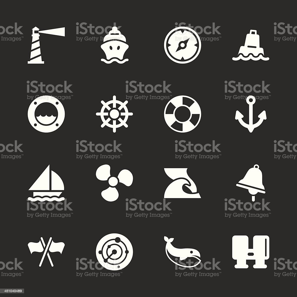 Nautical Icons - White Series | EPS10 royalty-free stock vector art