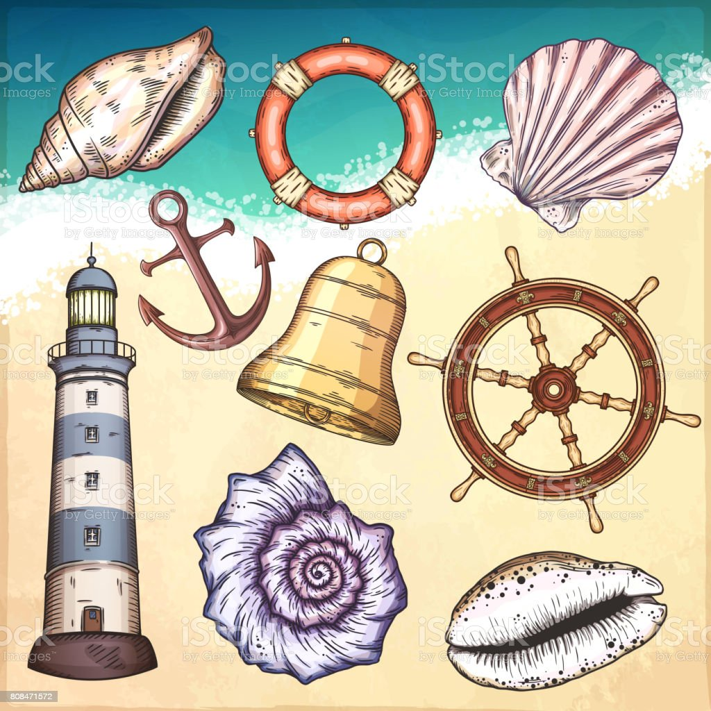 Nautical illustrations set. vector art illustration