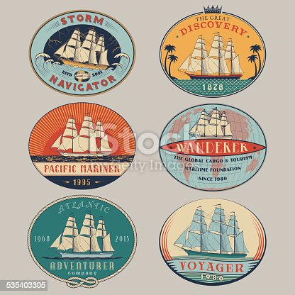 Set of nautical and maritime adventure vector color labels.Logotype templates and badges with ships,waves and design elements.Ocean and sea exploration,marine tourism and cargo transportation symbols
