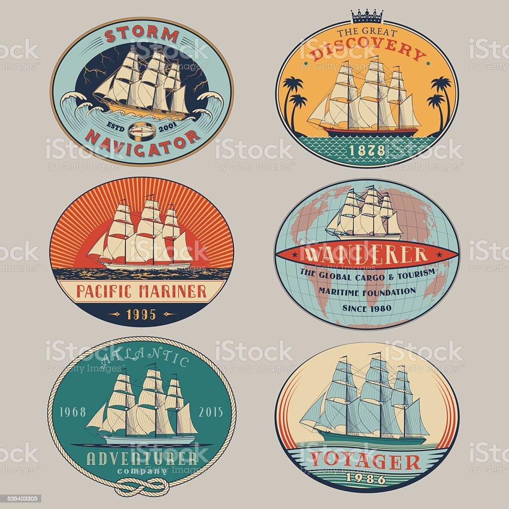 Nautical labels color vector art illustration