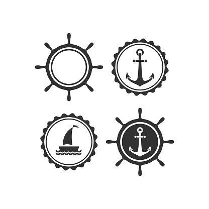 Nautical labels set. helm and anchor isolated on white. Ship and boat steering wheel sign.
