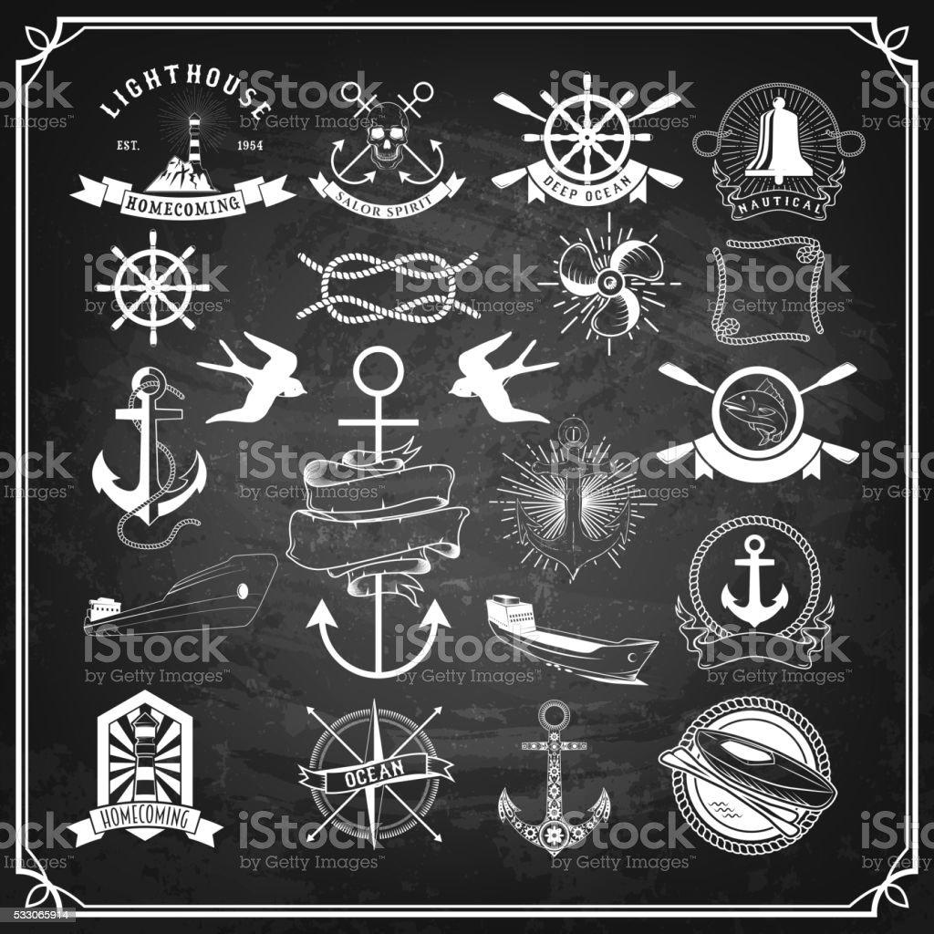 Nautical labels set. Vintage design elements on black chalkboard vector art illustration